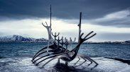 Viking Boat Statue Reyjkjavik Iceland
