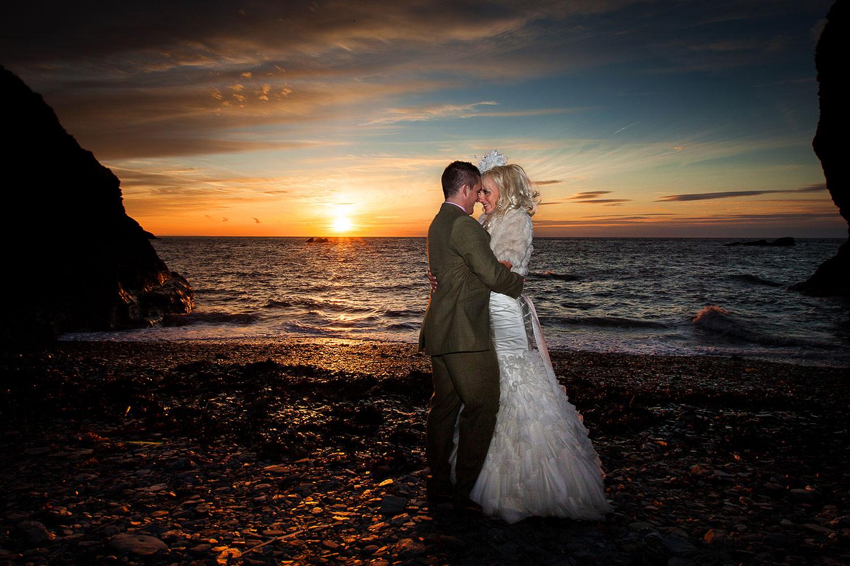 sunset beach wedding devon